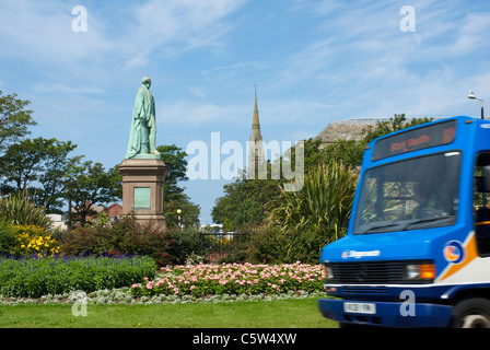 Statue of Sir James Ramsden in Ramsden Square, Barrow-in-Furness, Cumbria, England UK - Stock Photo