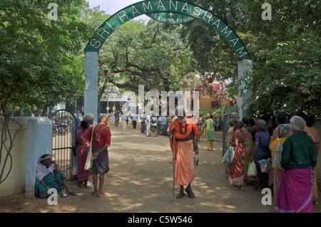 Entrance Sri Ramana Ashram Tiruvannamalai Tamil Nadu South India - Stock Photo