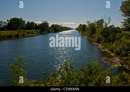 A view of the Soulange Canal in Quebec. - Stock Photo