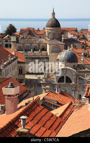 View of Dubrovnik terracotta rooftops from the city walls of Old Town Dubrovnik, Croatia - Stock Photo