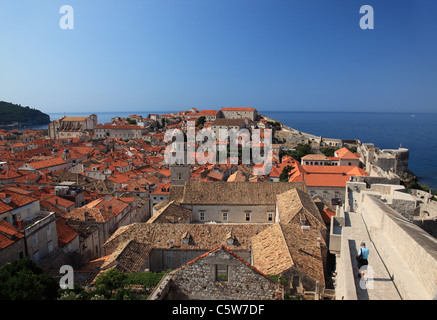 View of Dubrovnik red terracotta rooftops from the city walls of Old Town Dubrovnik, Croatia - Stock Photo
