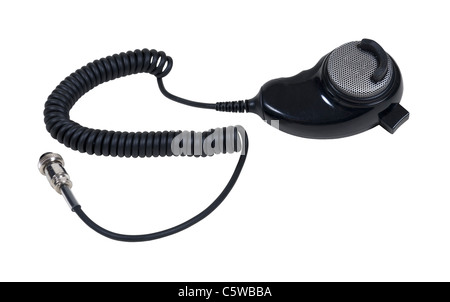 Microphone used to communicate via citizen band radio - path included - Stock Photo