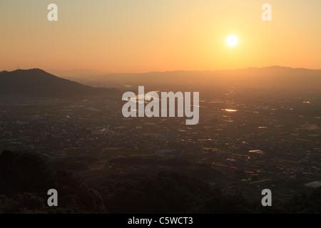 Evening Sun and Cityscape of Kinokawa, Kinokawa, Wakayama, Japan - Stock Photo