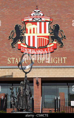 Sunderland foot ball club's crest at the Stadium of Light, Tyne and Wear, north east England, UK - Stock Photo