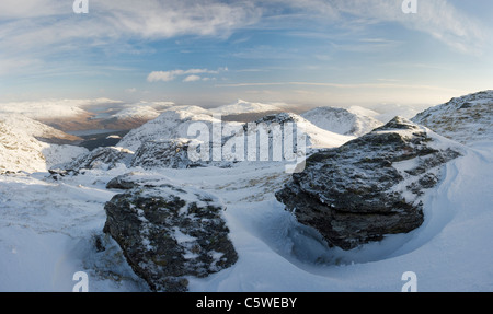 View in winter from Beinn Ime (1011m) towards Ben Lomond (centre), Arrochar Alps, Loch Lomond and the Trossachs - Stock Photo
