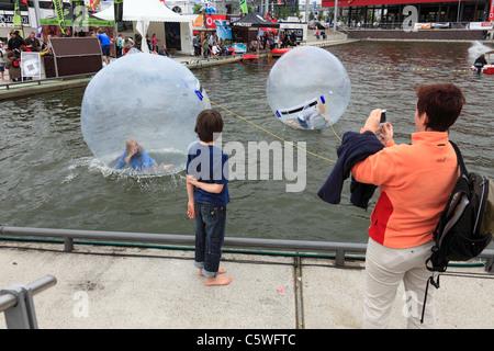 D-Kiel, Kiel Fjord, Baltic Sea, Schleswig-Holstein, Kieler Woche 2011, sailing event, summer fair, Bootshafen, childrens - Stock Photo