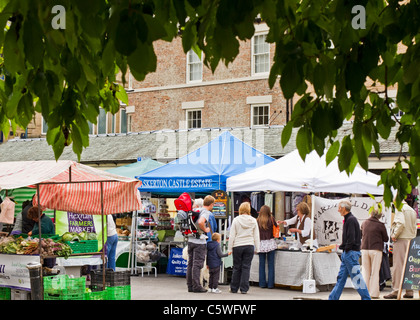 Hexham Farmers' Market, a twice monthly event, where food and other local produce is sold, Northumberland, England - Stock Photo