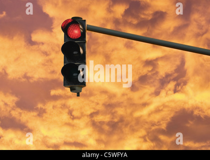 Germany, View of traffic light showing red light - Stock Photo