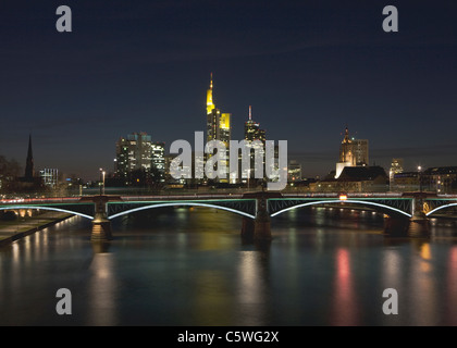 Germany, Frankfurt, View of city skyline at night - Stock Photo