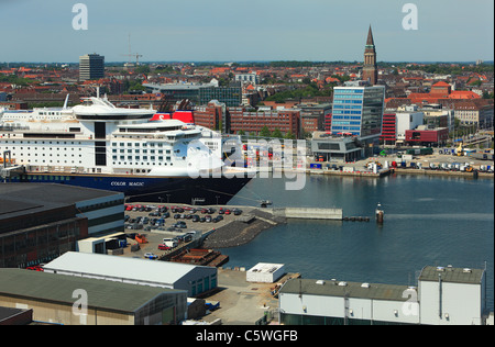 D-Kiel, Kiel Fjord, Baltic Sea, Schleswig-Holstein, panoramic view across the Kiel harbour to the city centre, Color - Stock Photo