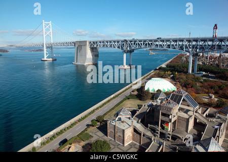 Great Set Bridge and Seto Ohashi Memorial Park, Sakaide, Kagawa, Japan - Stock Photo