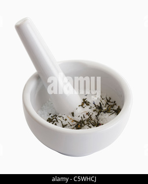 Mortar and pestle on white background - Stock Photo