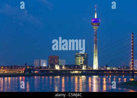 Germany, North-Rhine-Westphalia, Dusseldorf, city skyline, view across Rhine - Stock Photo