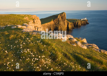 Neist Point and lighthouse in evening light, Isle of Skye, Scotland, Great Britain. - Stock Photo