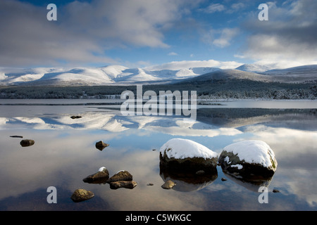 Loch Morlich and Cairngorm Mountains in winter, Cairngorms National Park, Scotland, Great Britain.