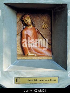 Way of the Cross at the Friedenskapelle der Heiligen Eucharistie, 3rd station, Jesus falls the first time, D-Essen, - Stock Photo