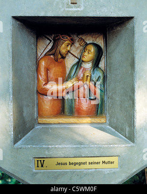 Way of the Cross at the Friedenskapelle der Heiligen Eucharistie, 4th station, Jesus meets His Mother, D-Essen, - Stock Photo