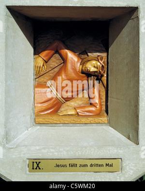 Way of the Cross at the Friedenskapelle der Heiligen Eucharistie, 9th station, Jesus falls the third time, D-Essen, - Stock Photo
