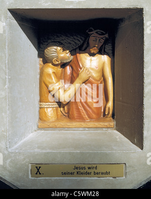 Way of the Cross at the Friedenskapelle der Heiligen Eucharistie, 10th station, Jesus is stripped of His garments, - Stock Photo