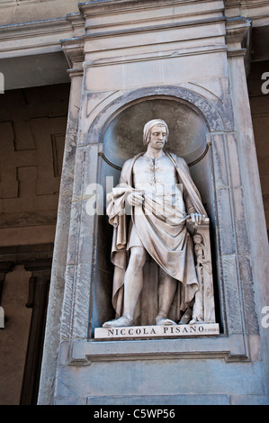 A marble statue of Nicola Pisano created by Pio Fedi, donated by Grand Duke Leopold II, in the Piazzale degli Uffizi, - Stock Photo