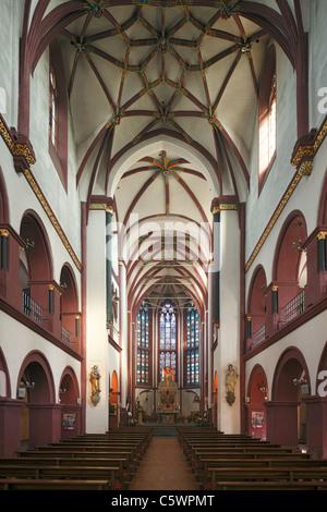 Innenansicht der romanischen Liebfrauenkirche in Koblenz, Rheinland-Pfalz - Stock Photo