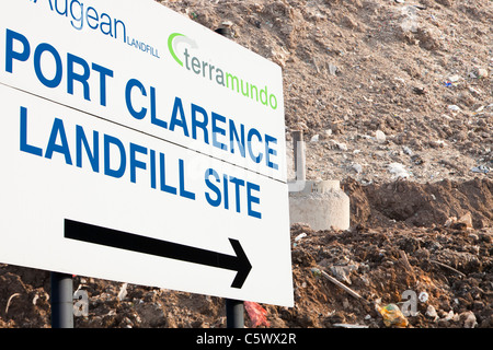 A landfill site in Billingham Teeside, UK, with pipes fitted for extracting methane from the site to be fed into - Stock Photo