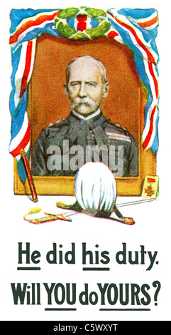 World War One Recruiting Poster - 'He did his duty. Will you do yours?' -  Lord Kitchener. DEL51 - Stock Photo