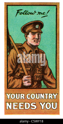 World War One Recruiting Poster - 'Follow me! Your country needs you' - soldier in uniform with rifle. DEL52 - Stock Photo