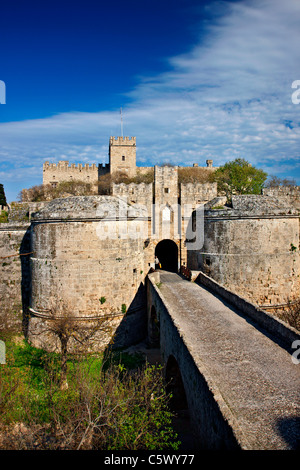 The palace of the Grand Master, behind the gate d' Amboise and the ditch of the Medieval town of Rhodes island, - Stock Photo