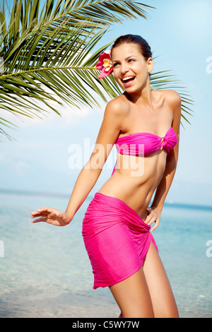 dancing on the beach - Stock Photo