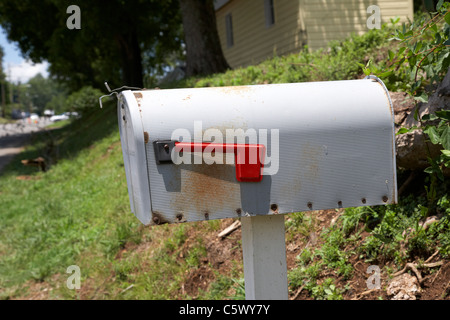 mail box American flag USA cute blue house little Stock