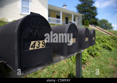 matt black american private mailboxes in front of houses Lynchburg , tennessee , usa - Stock Photo