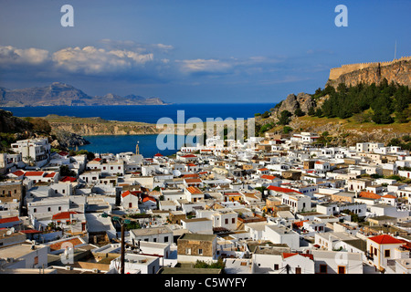 Panoramic view of beautiful Lindos village with its castle (Acropolis) . Rhodes island, Dodecanese, Greece - Stock Photo