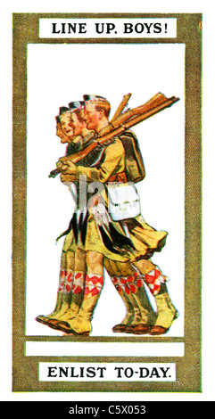 World War One Recruiting Poster - 'Line up, boys! Enlist to-day.' - four Scottish soldiers in kilts marching with - Stock Photo