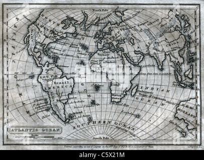 Atlantic Ocean - Antiquarian Black and White Map from 'The Second Book of History' - Stock Photo