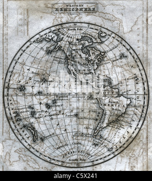 Western Hemisphere (close-up)  - Antiquarian Black and White Map from 'The Second Book of History' - Stock Photo