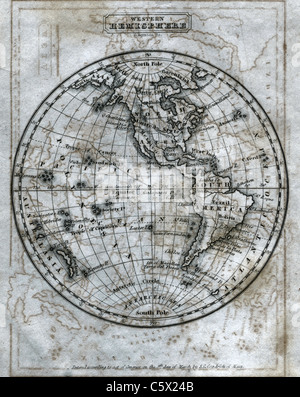 Western Hemisphere (full sheet) - Antiquarian Black and White Map from 'The Second Book of History' - Stock Photo