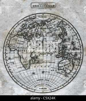 Eastern Hemisphere (close-up) - Antiquarian Black and White Map from 'The Second Book of History' - Stock Photo