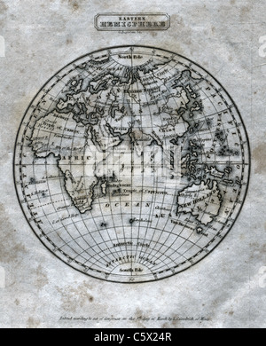 Eastern Hemisphere (full sheet) - Antiquarian Black and White Map from 'The Second Book of History' - Stock Photo