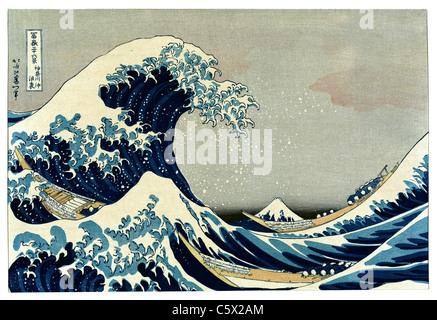 The Great Wave off Kanagawa by Katsushika Hokusai - Very high quality and resolution image - Stock Photo