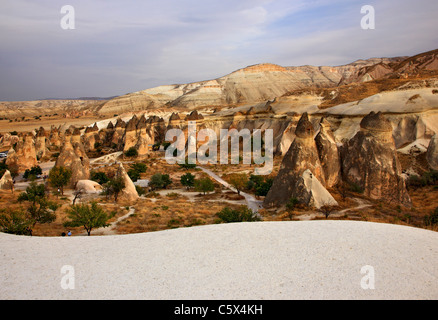 Fairy chimneys in Pasabag, Peribacalari Vadisi, Cappadocia, Turkey - Stock Photo