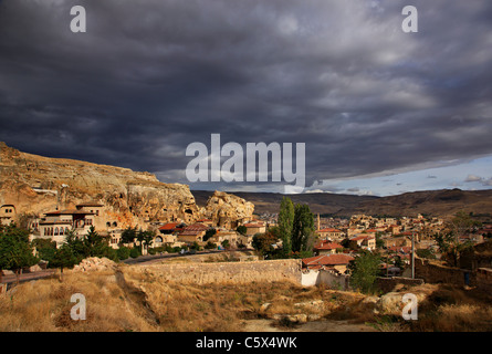 Photo from Urgup town, where you can see part of the old troglodyte settlement. Nevsehir, Cappadocia, Turkey. - Stock Photo