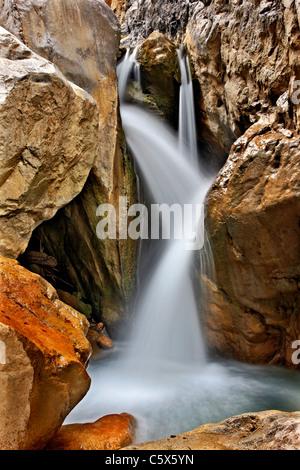 One of the waterfalls in Sarakina Gorge close to Mythoi village, about 20 km west of Ierapetra, Lasithi, Crete, - Stock Photo