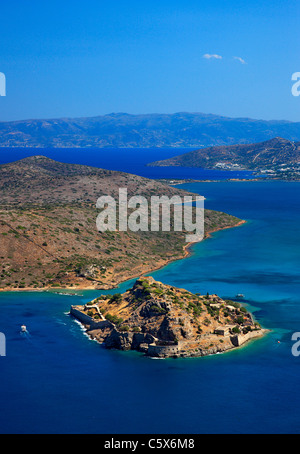 Panoramic view of Spinalonga island and castle, former leper colony, in Mirabello bay, Lasithi prefecture, Crete, - Stock Photo