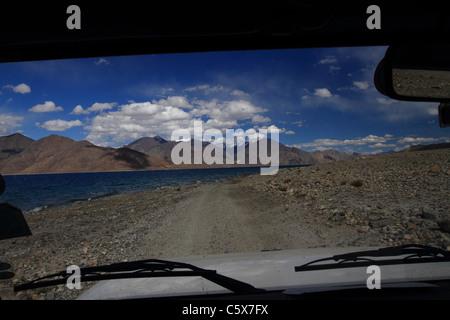 Pangong Tso lake, Ladakh, India - Stock Photo