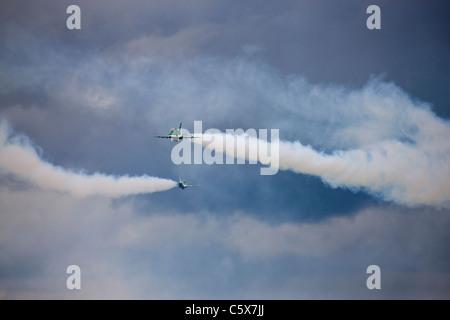 Saudi Hawks aerobatic display team in action - Stock Photo