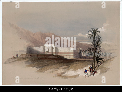 , Louis Haghe Engraving / David Roberts Painting from 'The Holy Land, Syria, Idumea, Arabia, Egypt and Nubia' - Stock Photo