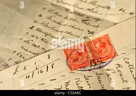 Stamp duty on an old receipt - Stock Photo