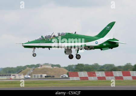 British Aerospace Hawk Mk65 Jet Trainer from the Saudi Hawks display team arrives at RAF Fairford to display at - Stock Photo