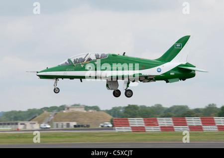 British Aerospace Hawk Mk65 Jet Trainer from the Saudi Hawks display team arrives at RAF Fairford to display at - Stock Photo